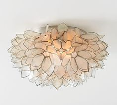 Pottery Barn 1629096 Capiz Floral Oversized Flushmount - Flush Mounts - Light Fixtures - Home Lighting Flush Mount Lighting, Flush Mount Ceiling, Home Lighting, Lighting Ideas, Bedroom Lighting, Outdoor Lighting, Flush Mount Light Fixtures, Kitchen Lighting, Entryway Lighting