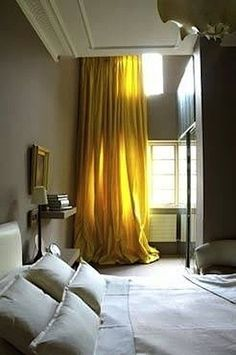 Chic Interior Designs With Yellow Curtains rose uniacke - london apartment. always love neutrals with a rich punch of colorrose uniacke - london apartment. always love neutrals with a rich punch of color Grey Bedroom Set, Home Bedroom, Bedroom Decor, Bedroom Yellow, Trendy Bedroom, Bedroom Colors, Yellow Room Decor, Beige Room, Master Bedroom