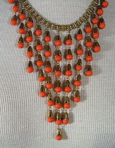 VTG Miriam Haskell Necklace Egyptian Revival Coral Glass Cascading Drip Bib | eBay