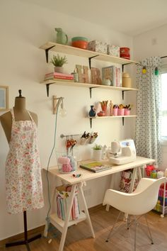 Sewing Nook, Sewing Room Design, Sewing Room Decor, Craft Room Design, Craft Room Decor, Sewing Room Organization, Bedroom Decor, Organization Ideas, Small Sewing Rooms