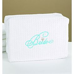 @Overstock - White cosmetic bag in waffle-weave fabric features a protective plastic liner inside. 'Bride' is embroidered in aqua thread. This bag is made of 60-percent cotton/40-percent polyester. Contents not included.http://www.overstock.com/Gifts-Flowers/Hortense-B.-Hewitt-Bride-Cosmetic-Bag/6770719/product.html?CID=214117 $20.99