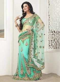 Magnificent Sea Green Embroidered Lehenga Saree