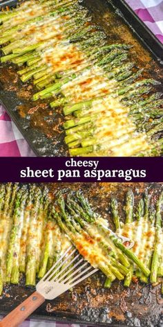 GARLIC ROASTED CHEESY SHEET PAN ASPARAGUS | An easy sìde dìsh, thìs roasted garlìc asparagus ìs cooked on a sìngle sheet pan wìth a cheesy toppìng. #recipes #cheesy #breakfast #garlic #food #asparagus Pan Asparagus, Roasted Garlic Asparagus, Side Dishes Easy, Sheet Pan, Springform Pan, Easy Side Dishes