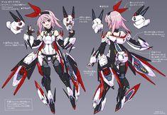 マシーナリーファイシュー(鎌) Female Character Design, Character Concept, Character Art, Concept Art, Cyberpunk Character, Cyberpunk Art, Anime Art Girl, Manga Art, Fantasy Characters
