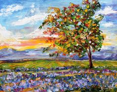 Original Oil Provence Lavender Landscape palette knife painting by Karensfineart