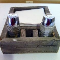 Reclaimed Barn Wood Napkin And Salt And Pepper Holder by Ben Chowning