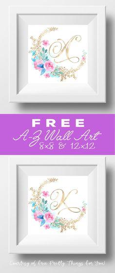 Free Printable Rose Wall Art A-Z (free art prints printable letters) Monogram Wall Art, Letter Wall Art, Name Wall Art, Initial Wall Art, Free Printable Monogram, Free Printable Art, Free Printables, Printable Letters, Art Wall Kids