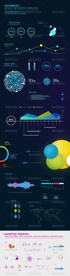 Buy Futuristic Infographic Elements Set by zigettyzag on GraphicRiver. Here is Futuristic Set of dataviz / infographics vector shape templates. You can modify colors, size, angle and other. Information Visualization, Data Visualization, Information Design, Information Graphics, Gfx Design, Design Art, Page Web, Dashboard Design, Kpi Dashboard