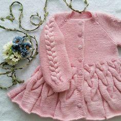 "Girls' Cardigan Coat  ""Bird Tails & Ponytails"" knitting pattern size 2 years"