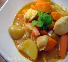 Recipe using TJ's yellow curry sauce.  Carrots, potatoes, sweet potato, and chicken