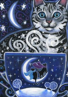 Solstice Magic  5x7 Winter Cat Coffee Scene  by BlueLucyStudios, $15.00