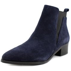 Marc Fisher Ignite Pointed Toe Suede Bootie (3.725 RUB) ❤ liked on Polyvore featuring shoes, boots, ankle booties, ankle boots, blue, pointed toe booties, blue suede boots, faux suede ankle booties, faux-suede boots and pointy-toe ankle boots