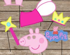 SALE Peppa Pig Party Photo Booth Props-3 Peppa by IraJoJoBowtique