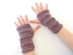 Modern Essence Fingerless gloves Mauve hand by Valerie Baber Designs - IntricateKnits, $30.00