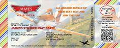 Disney Planes Personalized Boarding Pass Invitation - Digital File (PDF/JPG) Printable for Disney Planes Party Theme Boy Birthday Parties, 5th Birthday, Birthday Ideas, Disney Planes Party, Boarding Pass Invitation, Planes Birthday, Wings, Pdf, Printable