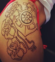 That anchor tat ans flowers are on point. Fan of thigh tattoos ;)