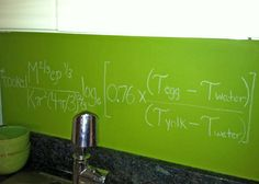 """""""I am a true lover of typography so I researched, found the chemical equation for a soft-boiled egg and added it to my backsplash.   As I gain more confidence in my own personal style, the more fun I like to have with my space.  Look for the chemical equation for espresso or marinara sauce and add it to your kitchen wall.  In the bathroom, post the chemical equation for soap bubbles.  Chemistry was one of my weaker subjects in school, but I feel I am making up for it in style."""""""