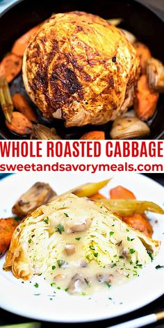 Whole Roasted Cabbage is brushed with a garlic maple-butter sauce then baked until caramelized and fork-tender. #cabbage #cabbagerecipes #roastedcabbage #stpatricksdayrecipes #sweetandsavorymeals