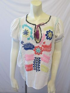 Anthropologie Corey Lynn Calter Embroidered Peasant Floral Blouse Top Shirt S #Anthropologie #Blouse #Casual
