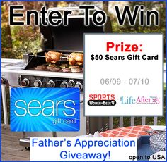 Thank Your Dad! Win our $50 Sears Gift Card #Giveaway! - via @SportsWomenBeer @YourLifeAfter25- #ArtOfGrilling AD