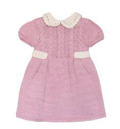 Vestido de niña tejido a mano. Color rosa viejo. Tallas de 6 meses a 2 años