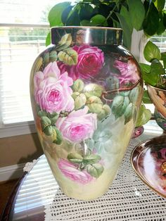 Wonderful  Huge D&C Limoges 15.5 inch vase with Roses