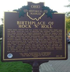 Birthplace of Rock and Roll historic sign outside the Hall of Fame in Cleveland