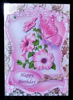 Pink Petunias and Butterfly Fancy Shaped Topper on Craftsuprint designed by Mary MacBean - made by Suzi Cooper - Printed onto 190gsm matte photo card then mounted onto a pale pink foiled card blank using DST. Assembled the decoupage using 2mm foam pads then finished with a pink glitter ribbon bow. - Now available for download!