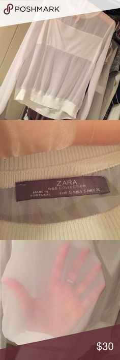 Sheer white Zara top Size small top from Zara worn once the whole thing is sheer except for a block of white in the front chest area Zara Tops Blouses
