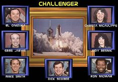 The Space Shuttle Challenger crew - I remember walking in from school and seeing my mother crying watching this. Space Shuttle Challenger Crew, Challenger Space, Christa Mcauliffe, Ap World History, Lest We Forget, Sad Day, Vintage Ephemera, Science Projects, Back In The Day