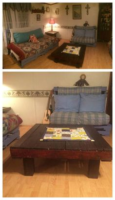 My Living Room Pallet Furnitures #CoffeeTable, #Couch, #LivingRoom, #RecycledPallet