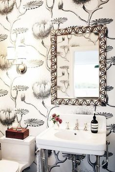 Black and White Powder Room with Cole and Son Summer Lily Wallpaper - Contemporary - Bathroom Lily Wallpaper, Powder Room Wallpaper, Bathroom Wallpaper, Trendy Wallpaper, Wallpaper Ideas, Unusual Wallpaper, Lotus Wallpaper, Large Bathrooms, Small Bathroom