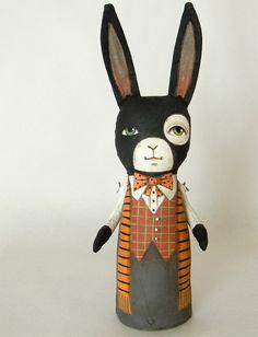 halloween bunny folk art doll