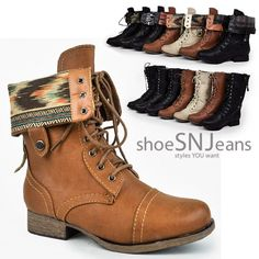 Women's+Lace+Up+Military+Army+Combat+Riding+Fold+Over+Boots+Shoes+Wild+Diva+#WildDiva