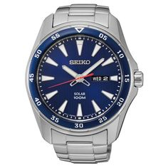Seiko SNE391 Men's Watch Solar Blue Dial Silver Stainless Steel Band