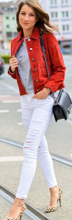 Véjà Du Rust Suede Button Front Jacket Gray Tee White Ripped Skinny Jeans Leo Pumps Fall Inspo #V