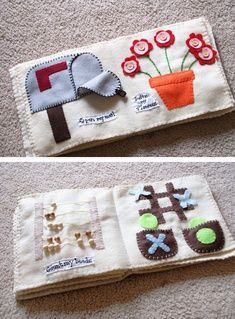 There are some fantastic ideas here for quiet books.  I really want to make some of these for Thing 1 and 2!