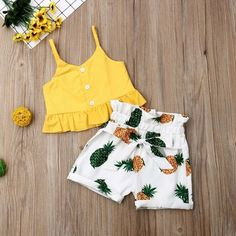 Summer Toddler Kids Baby Girl Clothes Sleeveless Tops Vest Pineapple Shorts Holiday 2PCS Outfits Set | Wish - #2pcs #Baby #clothes #girl #holiday #kids #outfits #pineapple #set #shorts #sleeveless #Summer #toddler #Tops #vest Toddler Jeans, Toddler Girl, Infant Toddler, Outfits Niños, Kids Outfits, Kids Girls, Baby Kids, Short Niña, Pineapple Clothes