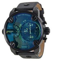 Diesel Bad Ass Chronograph Blue Dial Black Leather Men's Watch (W-DZ7257)