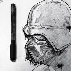 Desenho em preto e branco do Darth Vader.  #desenho #drawing #art #arte #pretoebranco #starwars #darthvader