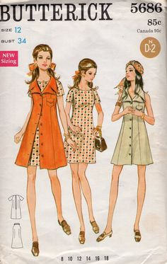 Free Us Ship Sewing Pattern Vintage Retro 1960s 60s Butterick 5686 Mod Duster Coat vest & Dress Uncut Size 12 Bust 34 Shirtdress Big Collar by LanetzLiving on Etsy