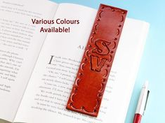 Click To Shop Now - Handmade Personalised Initials Leather Bookmark, Hand Stamped Leather Book Mark. #personalised #initials #leather #bookmark #handstamped Leather Bookmarks, Leather Keyring, Leather Gifts, Leather Books, Leather Craft, Leather Anniversary Gift, 3rd Anniversary Gifts, Personalised Keyrings, Personalized Gifts