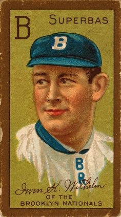 "CARD: Irwin ""Kaiser"" Wilhelm player card. Wilhelm played for the Superbas of Brooklyn, one of the nicknames used before Dodgers. A pitcher, he played through 1910 and later (1914-1915) in the Federal League. Three times he lost 20 games in a season. ~"