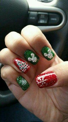 Disney Themed Christmas Nail Design in Red and Green