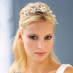 Image detail for -Diadema de delicadas perlas hechas con piedras de lunares blancos que ...