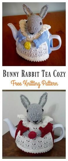 Bunny Rabbit Tea Cozy Free Knitting Pattern This Mrs. Bunny Rabbit Tea Cozy Free Knitting Pattern is a cute and creative way to keep your teapots warm. Make one now with the free pattern provided by the link below. Tea Cosy Knitting Pattern, Tea Cosy Pattern, Animal Knitting Patterns, Christmas Knitting Patterns, Free Knitting, Crochet Geek, Form Crochet, Finger Knitting, Scarf Patterns