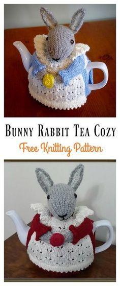 Mrs. Bunny Rabbit Tea Cozy Free Knitting Pattern #Freepattern #Easter #Knitting #Bunny