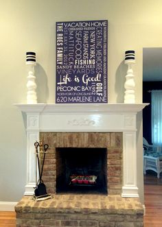 word art canvas on a mantle