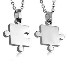 Puzzle partnerské přívěšky Dog Tags, Dog Tag Necklace, Jewelry, Jewlery, Jewerly, Schmuck, Jewels, Jewelery, Fine Jewelry