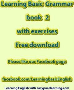 Learning basic grammar PDF book 2 exercises free download